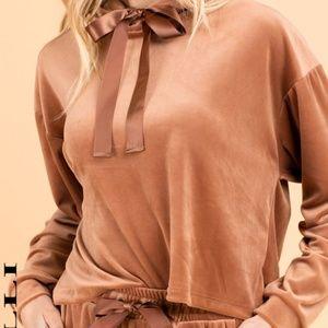 Long Sleeve Velvet Boxy Hooded Top - Brick Brown